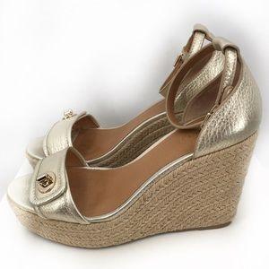 Coach Silver Wedge Sandals